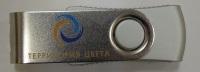 Печать логотипа на металлической поворотной флэшке